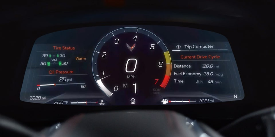 2020 Chevrolet Corvette Mid-Engine Sports Car Driver Information Center